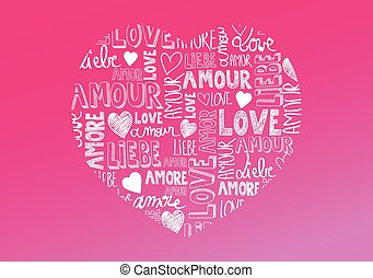 Love words - Sweet pink color heart with international love...