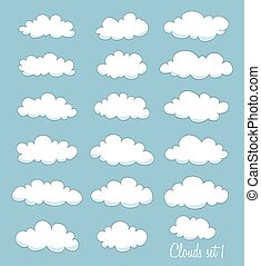 set of cute cartoon white clouds. vector