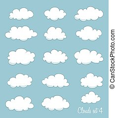 set of cartoon clouds. vector