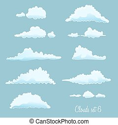 set of clouds on blue. vector