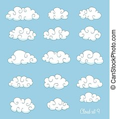 set of cute cartoon clouds with swirls. vector
