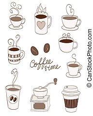 coffee items, cups, cup to go, beans doodle vector