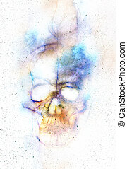 Skull and fractal effect Color background, computer collage...