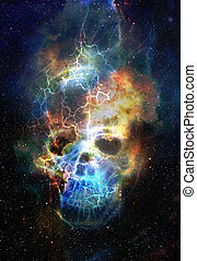 Skull and fractal effect. Color space background, computer...