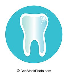 Tooth icon in a blue circle - Tooth icon in a blue circle...