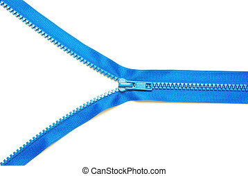zipper - Unzipped blue metal zipper on white background
