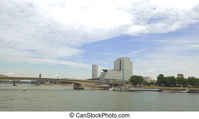 The river in Cologne. Bridges and ships - Europe. Cologne....