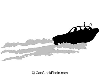 Little boat - Silhouette of retro ship on white background