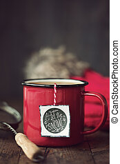 Festive mug of tea - Enamel mug with festive tea bag tag