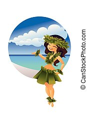 hawaiian young hula dancer on ocean beach