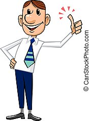 Businessman with Thumb Up gesture - Cartoon character -...