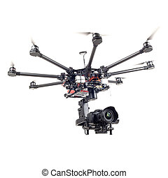 Octocopter, copter, quadrocopter - Copter closeup isolated...