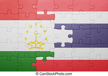 puzzle with the national flag of tajikistan and thailand ....