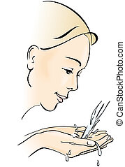 Young woman washing her face Hygiene and care Vector...