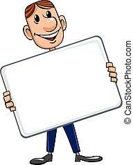 Businessman with blank sign - A smiling cartoon businessman...