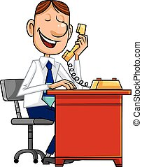 Businessman with phone - Smiling businessman talking by...