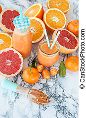 Juice made from fresh citrus fruits