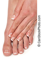 Pedicure and Manicure - Manicured hand and pedicured foot