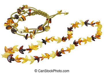 Jewelry Made of Natural Amber Isolated - Necklace and...