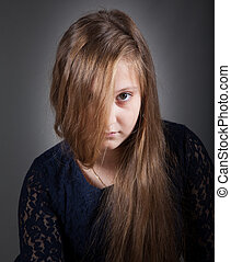 10 year old girl - Portrait of a 10 year old girl, studio...