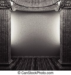 vector stone columns and wallpaper