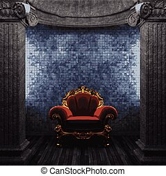vector stone columns, chair and tile wall
