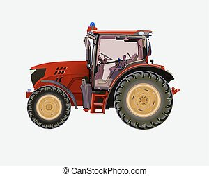 Red agricultural tractor - Vector illustration of a tractor...
