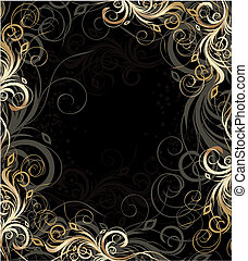 Vector floral background - Vector black and gold floral...