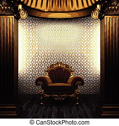 vector bronze columns, chair and tile wall
