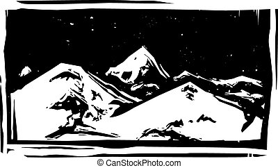 Woodcut Mountain Range