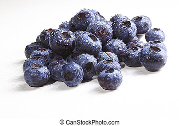 detail of blueberry - group of classic blueberry on white...