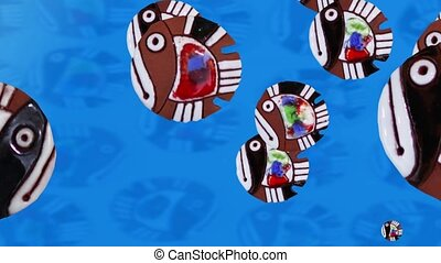 cartoon colorful fish - colorful fish animation loop ready...