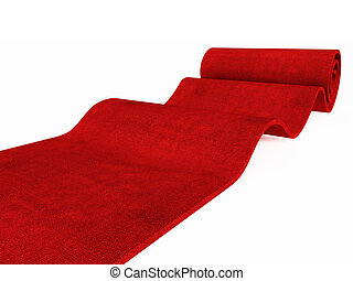 rolling red carpet - red carpet rolling on white plane 3d...