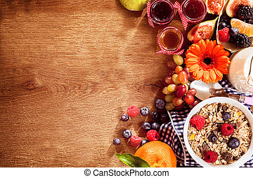 Breakfast food with copy space - Colorful breakfast meal...