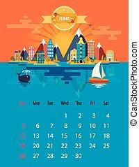 Calendar of june - Calendar for 2016 in letter format Style...