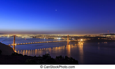 Golden Gate Bridge, SFO at night with a starry sky