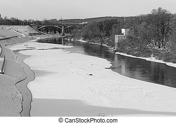 The Dnieper river in Smolensk black and white photography