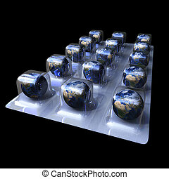 earth pills - 3d image of pills of earth isolated on black...