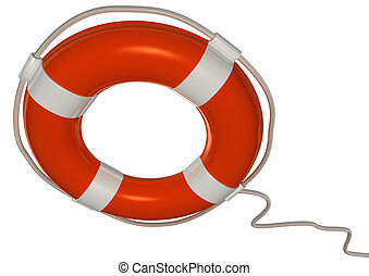 lifebuoy - 3d image of a orange and white lifebuoy isolated...