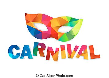 Bright rainbow colors vector carnival mask and sign - Bright...