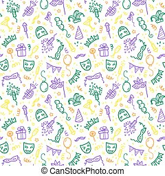 Green, yellow and violet carnival symbols in doodle style on...