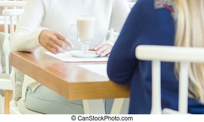 Young woman with her friend at the restaurant - Active...