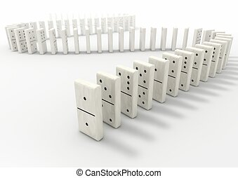 Domino - Long curve path of domino pieces on white...