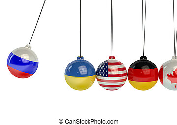 Russia, Ukraine, USA, Canada, Germany political war conflict concept