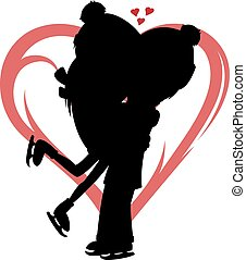 Winter hugs - Silhouette of a lovely ice skater couple heart...