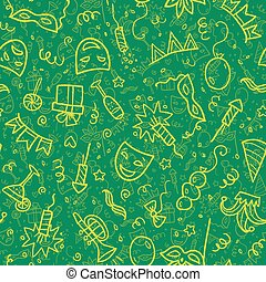 Yellow carnival symbols in doodle style on green background,...