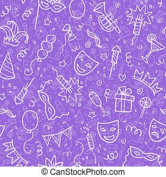 White carnival symbols in doodle style on violet background,...