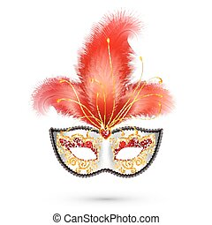 Silver carnival mask with red glitter decoration and realistic feathers