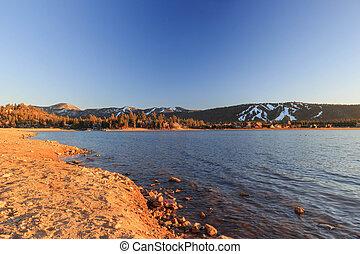Big bear lake at sunset time