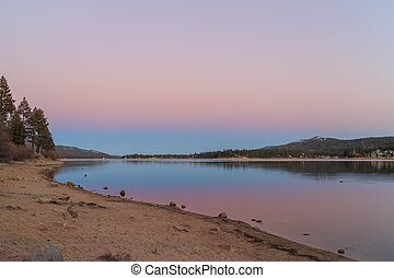 Big bear lake at sunset time